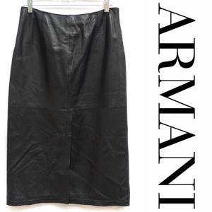 Armani Leather Front Slit Midi Pencil Skirt